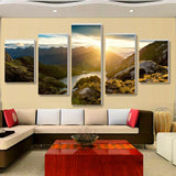 Mountains, Rivers And Sunset Landscape 5 Piece Canvas Art