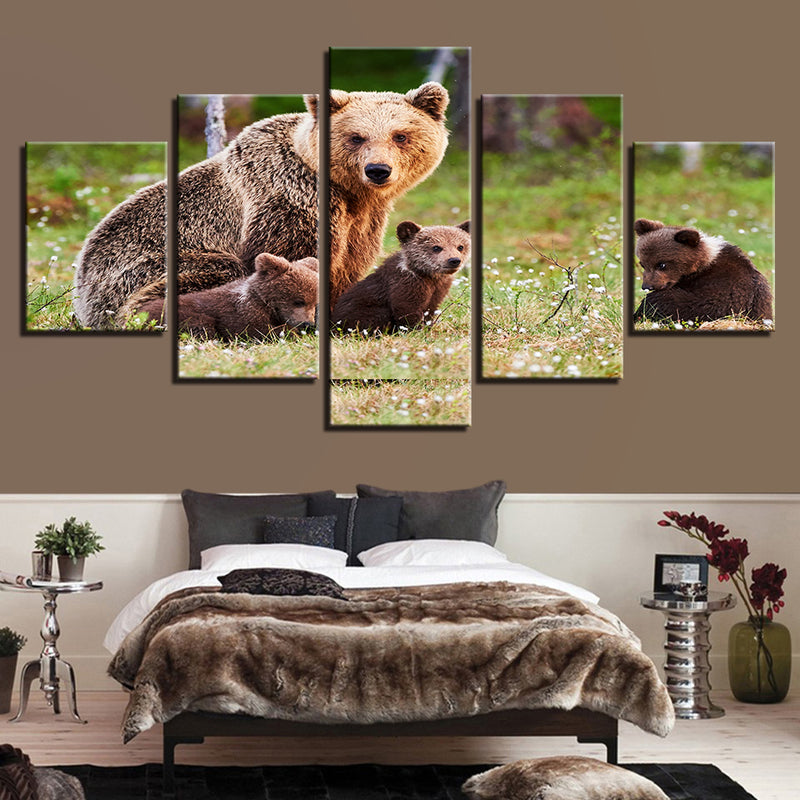 Animal Brown Bears Family Landscape - Mystikz Gaming