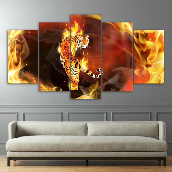 Animal Fire Tiger In Flame Abstract - Mystikz Gaming