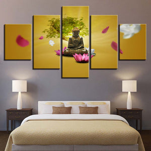 Buddha Pink And White Lotus Flower Tree - Mystikz Gaming