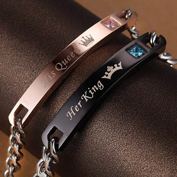 His Queen Her King Stainless Steel Matching Couple Bracelet