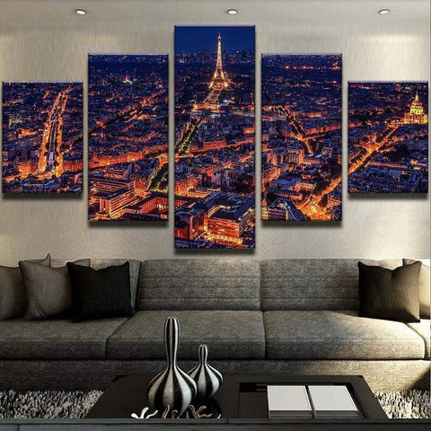 Skyline Of Paris Night View Lights Up Canvas Art
