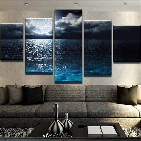 Moonlight Over Ocean Canvas Art