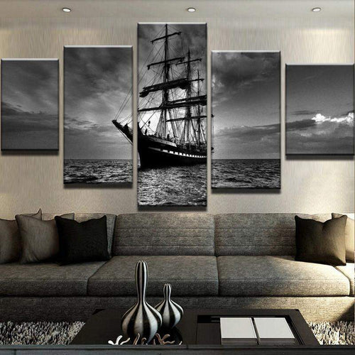 Ship Set Sail On Ocean At Night Canvas Art
