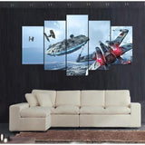 Star Wars Millennium Falcon And X-Wing Fighter Canvas Art