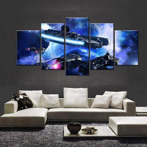 Star Wars Millennium Falcon In Hyperspace Canvas Art