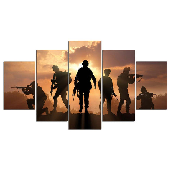 Battlefield and Soldiers 5 Piece Canvas Art
