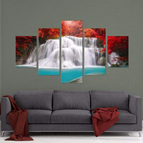 Secret Waterfall 5 Piece Canvas Art