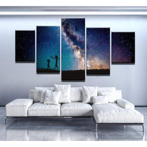 Rick And Morty And The Galaxy Canvas Art