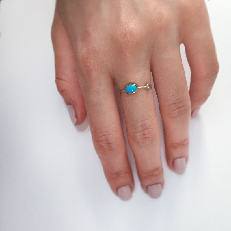 Turquoise Ring with Moissanite Accent by Jamie Park Jewelry