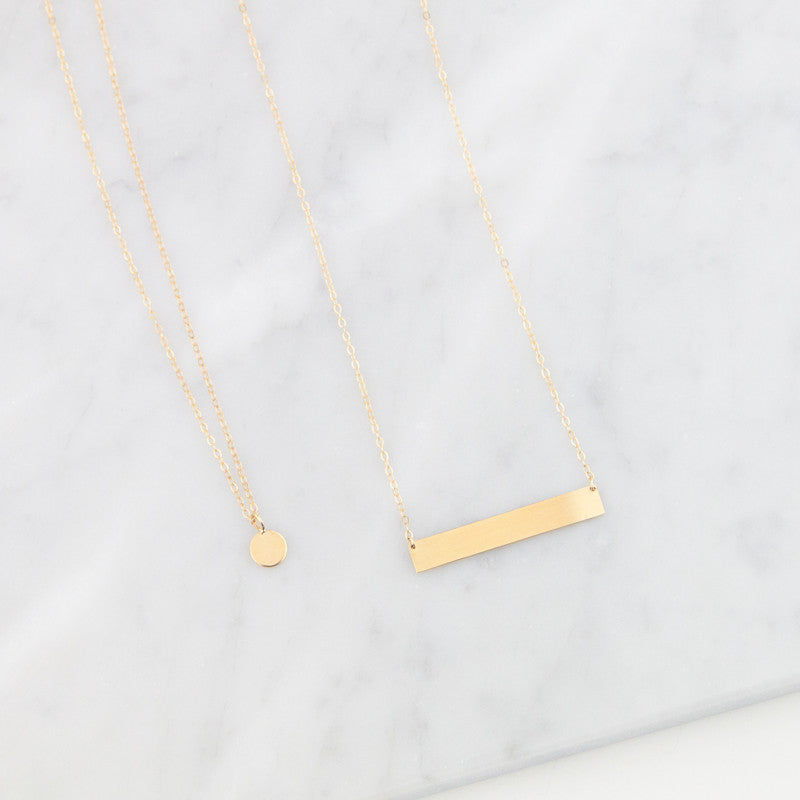 14K Round Initial Charm Necklace by Jamie Park Jewelry