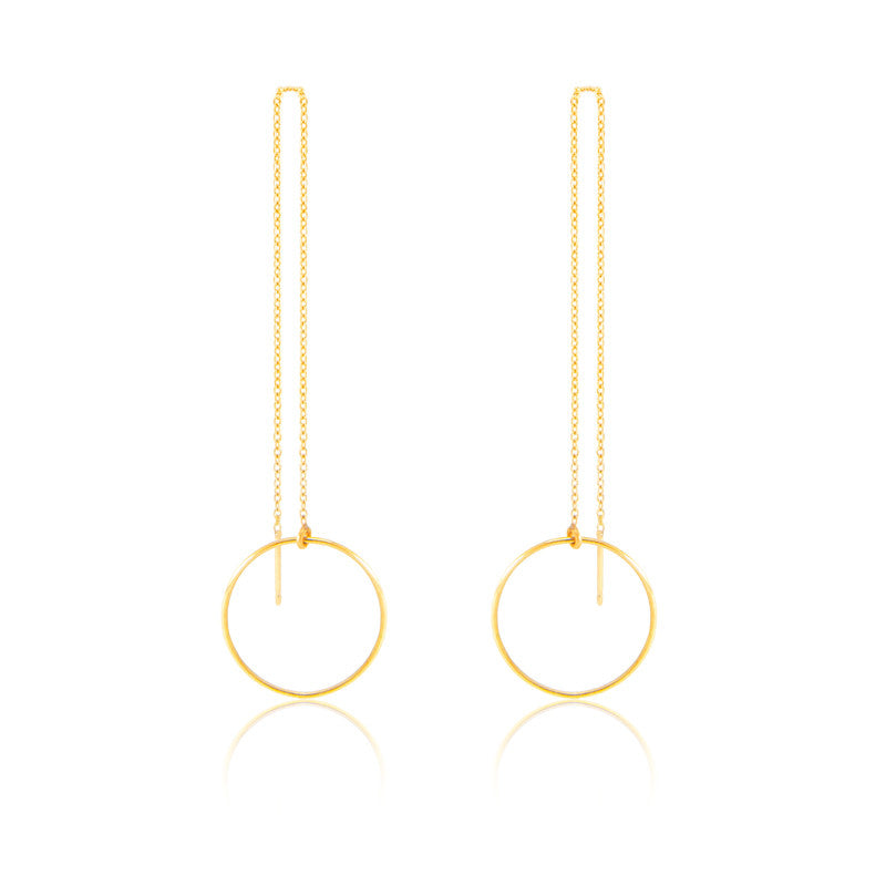 14K Long Chain Earrings Threader by Jamie Park Jewelry
