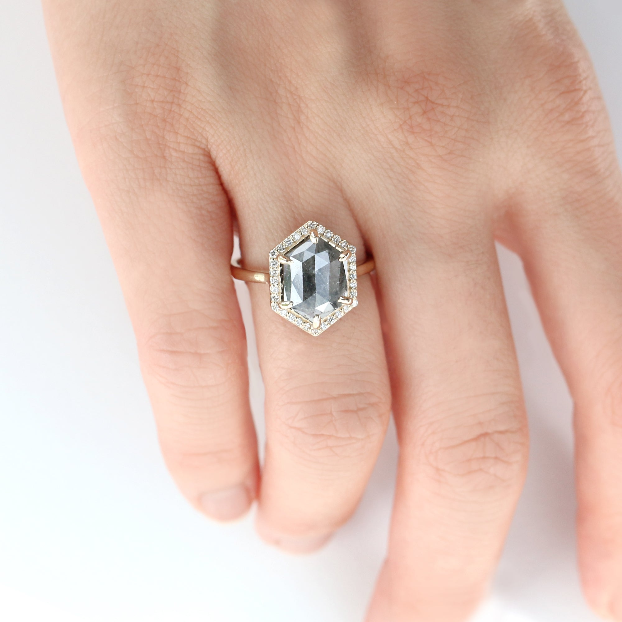 3CT Hexagon Halo Diamond Ring by Jamie Park Jewelry