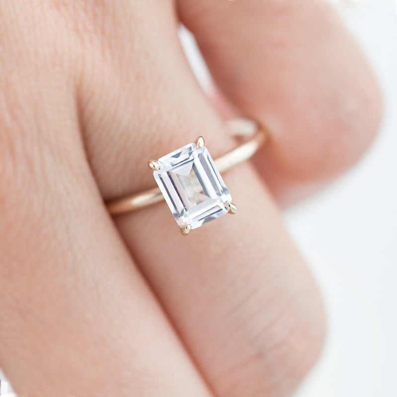 Bella Emerald cut white sapphire ring by jamie park jewelry usa