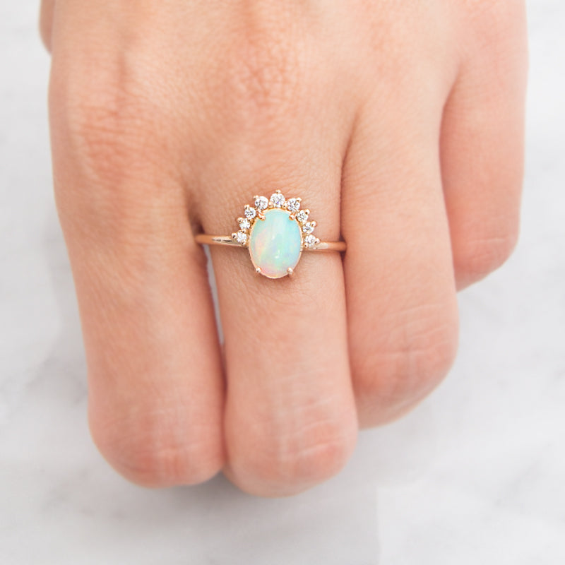 Diamond Crown Opal Ring by Jamie Park