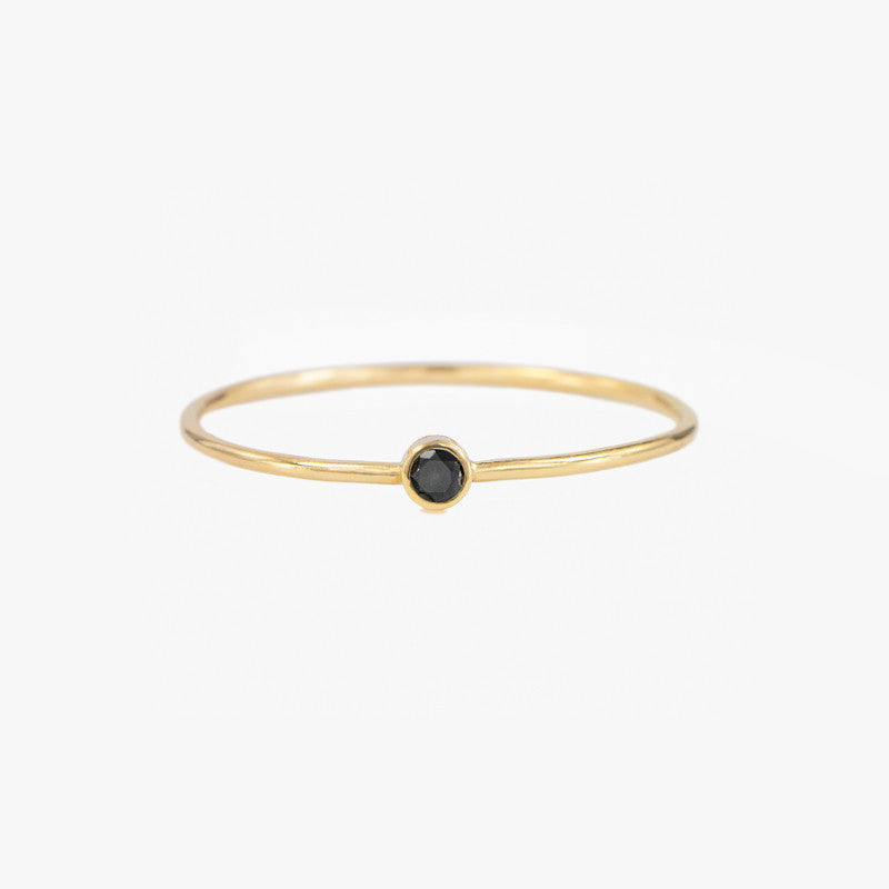Black Diamond Stacking Ring, diamond solitaire ring by jamie park jewelry