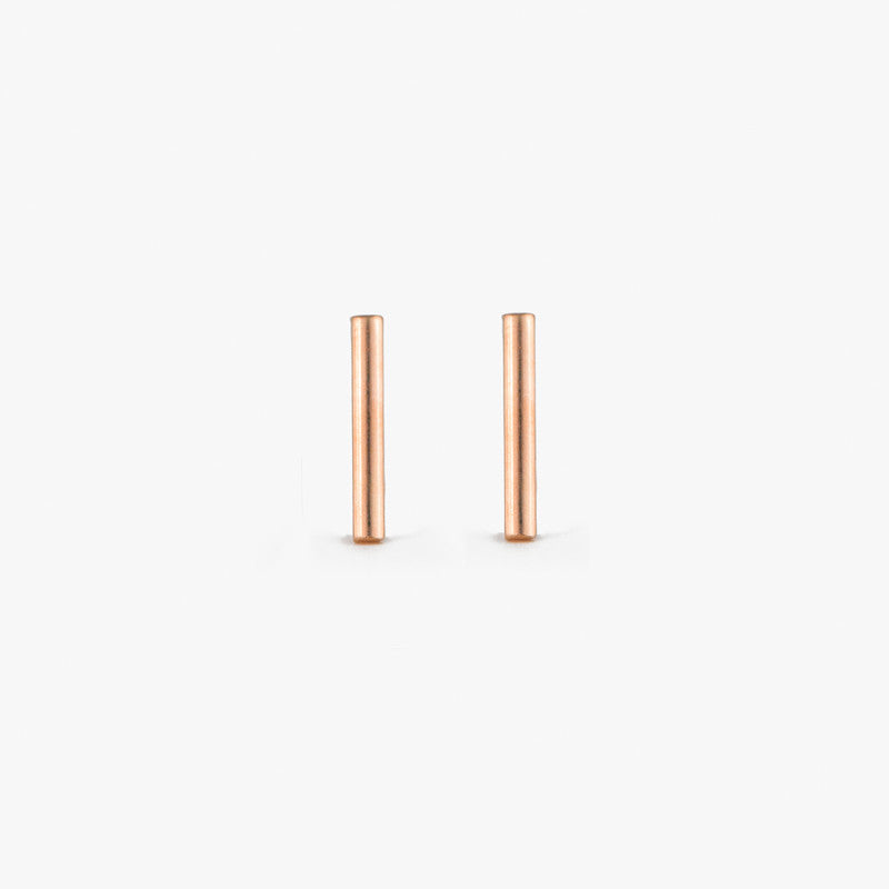 Rose Gold Bar Stud Earrings