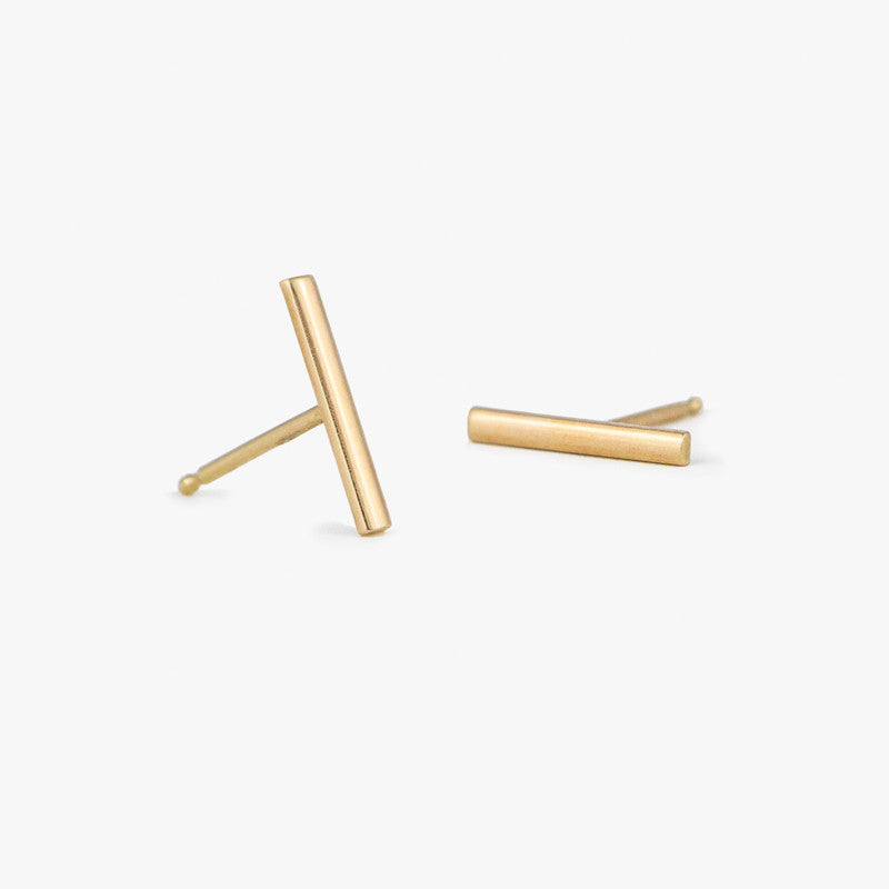 14K bar earrings, bar studs, by jamie park jewelry