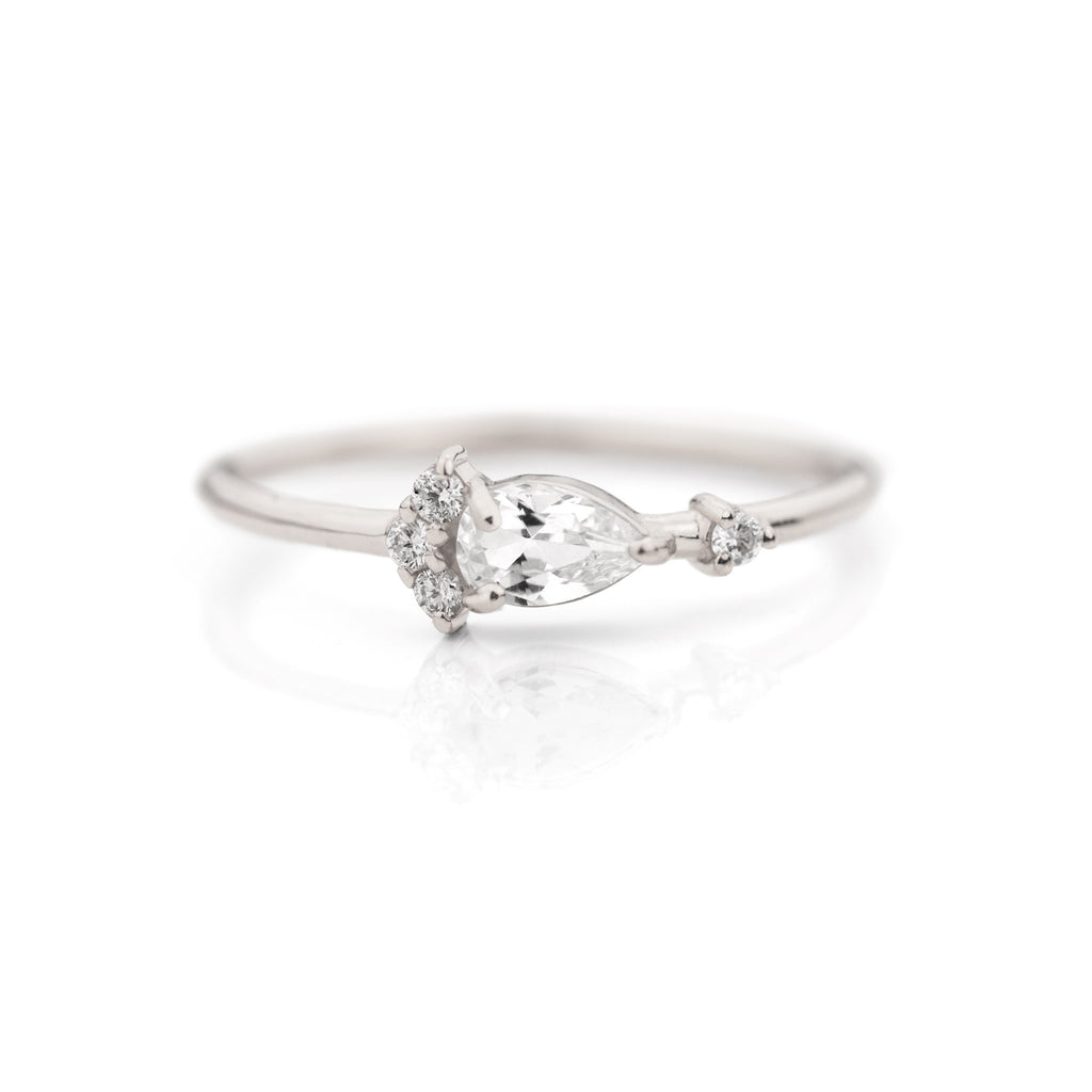 Pear Cut White Sapphire Diamond Ring