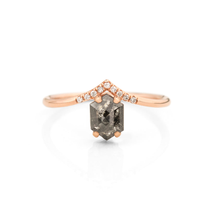 Hexagon Salt and Pepper Diamond Peak Ring Jamie Park Jewelry