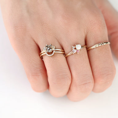 Rose Cut Diamond Cluster Ring by Jamie Park Jewelry