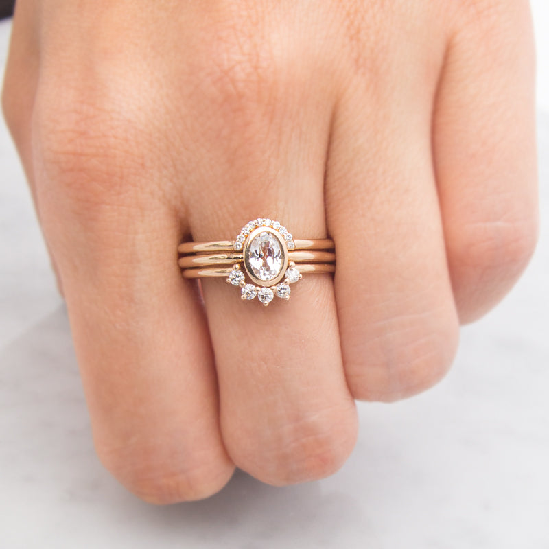 Bezel Oval White Sapphire Ring by Jamie Park