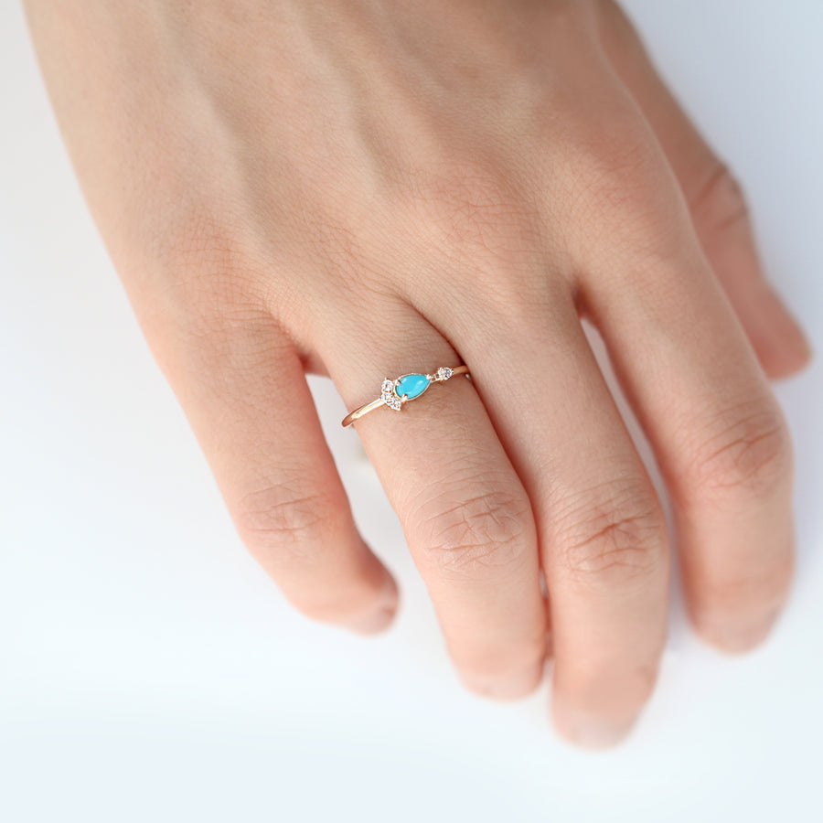 Pear Cut Turquoise Diamond Ring by Jamie Park Jewelry