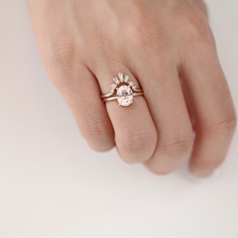 Luna Oval White Sapphire Ring