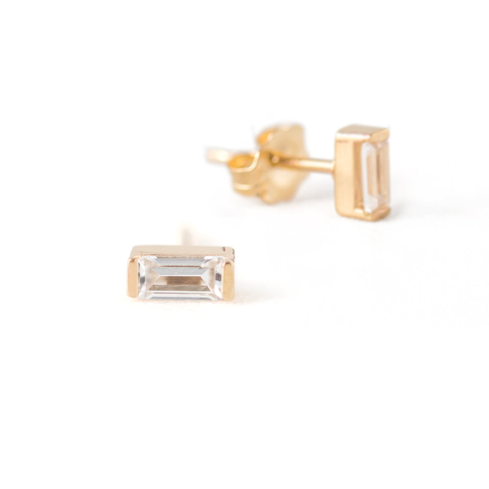 Baguette Cut White Sapphire Earrings by Jamie Park Jewelry