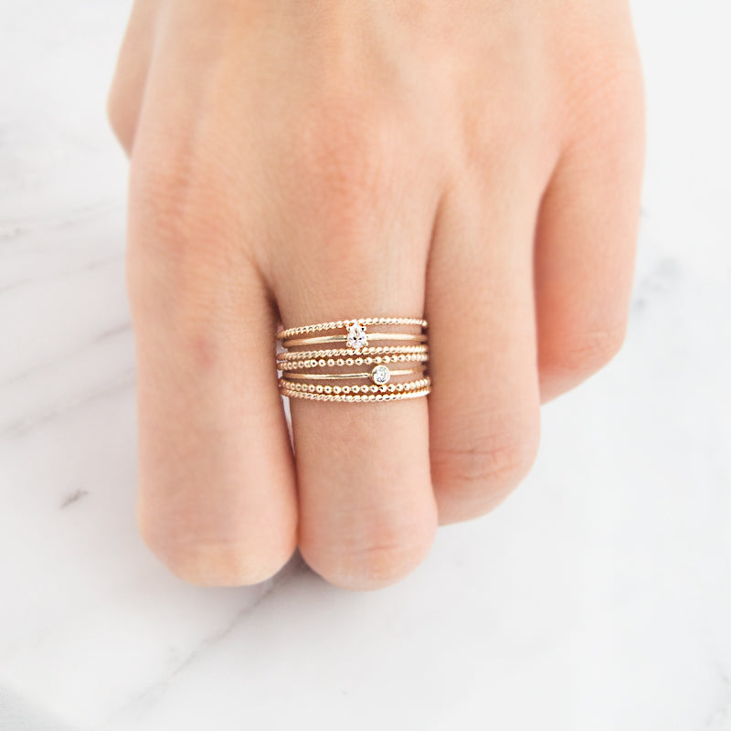 Delicate rose gold bubble beaded ring by jamie park jewelry