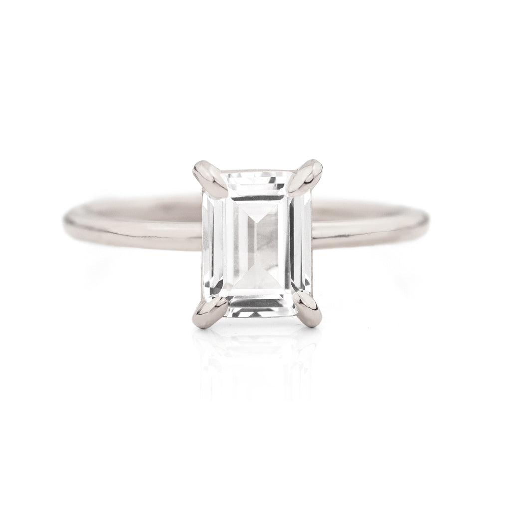 Bella Emerald White Sapphire Ring by Jamie Park Jewelry
