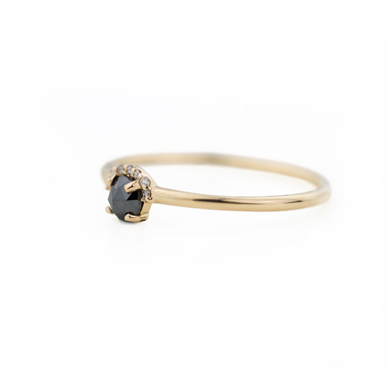 Rose Cut Black Diamond Ring by Jamie Park