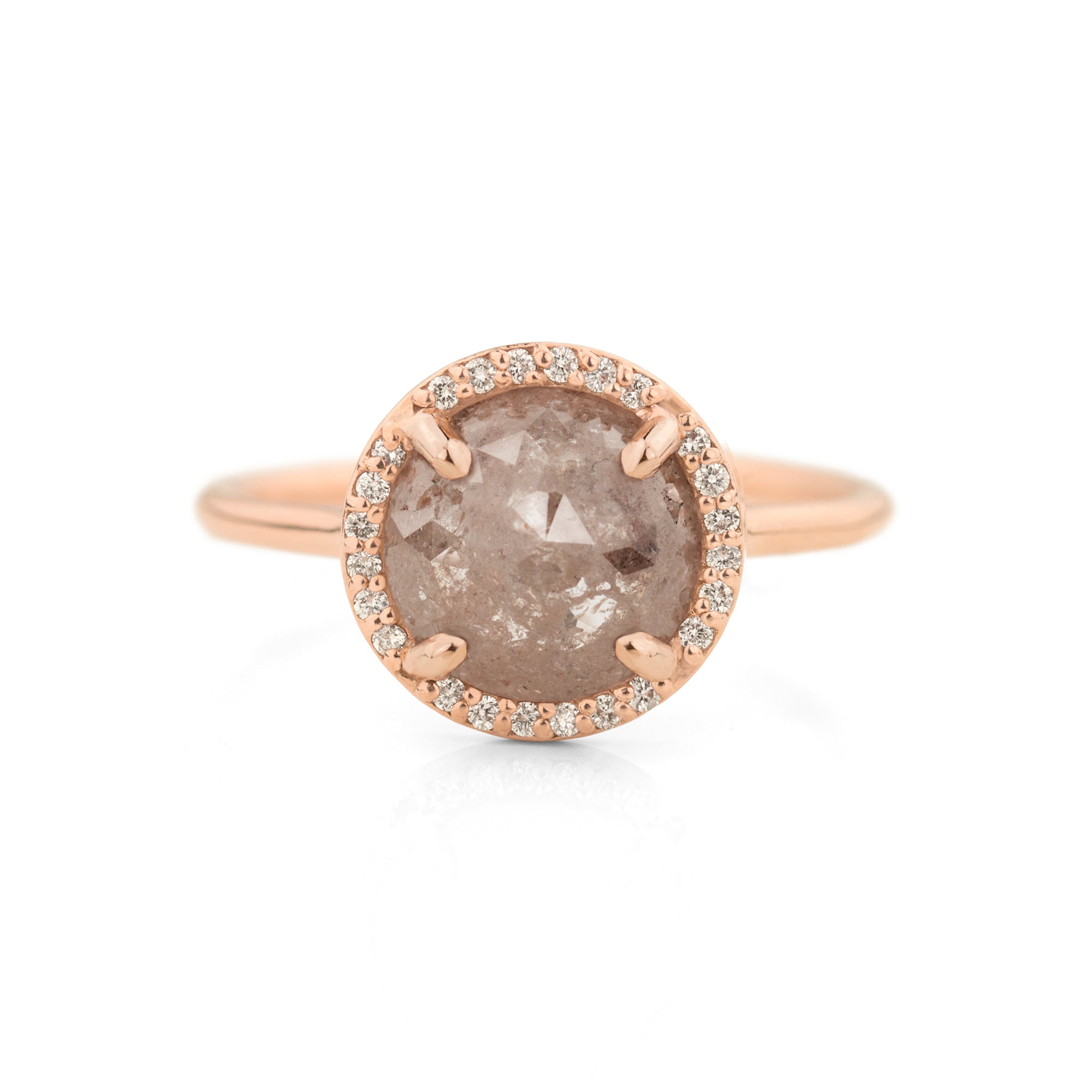 Blush Salt and Pepper Halo Ring