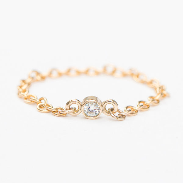 14K Gold Diamond Chain Ring