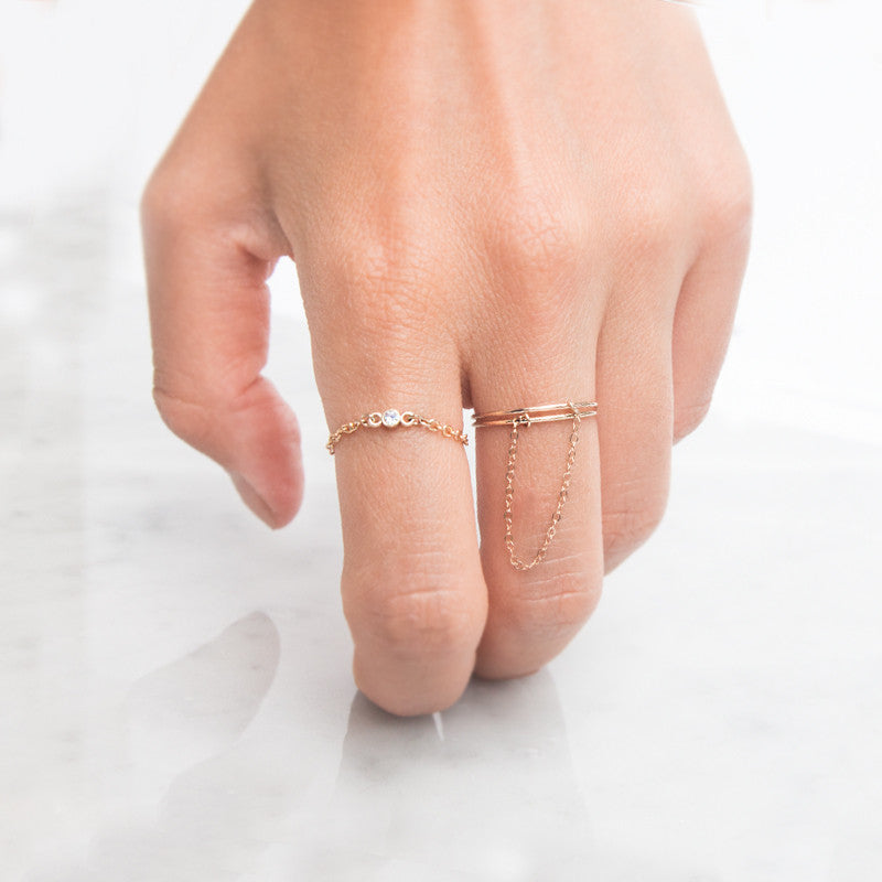 14K Gold Chained Double Rings