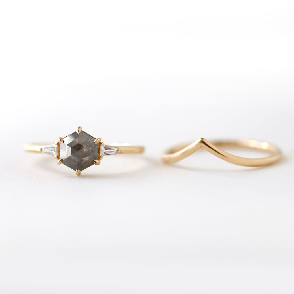Hexagon Rose Cut Diamond Engagement Ring by Jamie Park Jewelry