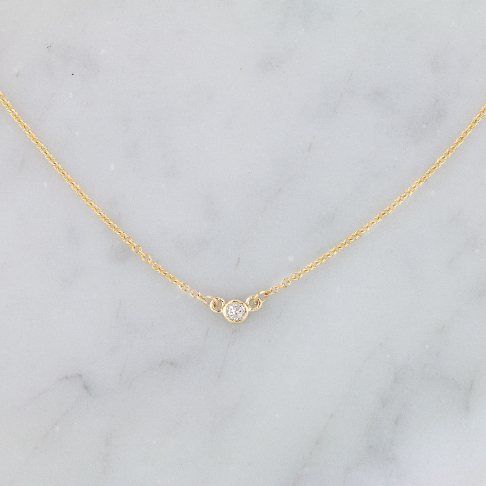Diamond Solitaire Necklace by Jamie Park Jewelry. Made in USA