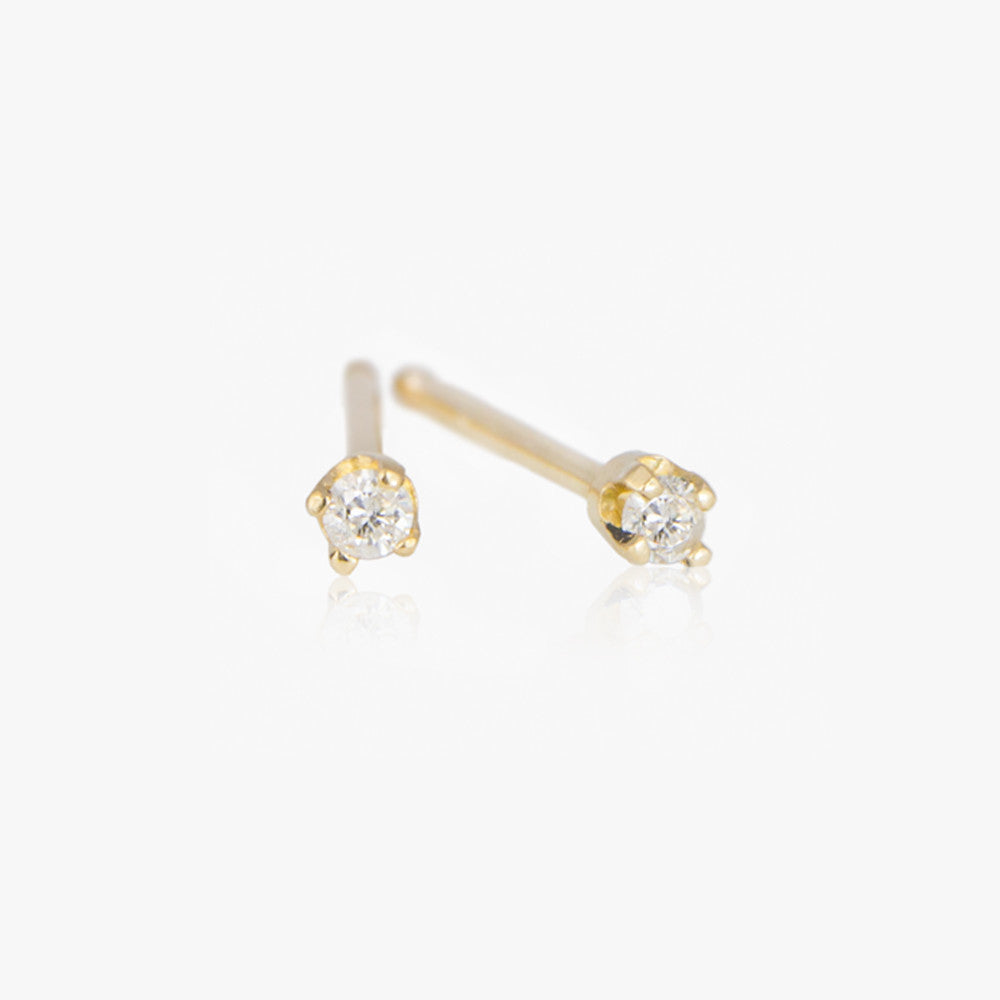14k Diamond stud earrings by Jamie Park Jewelry USA