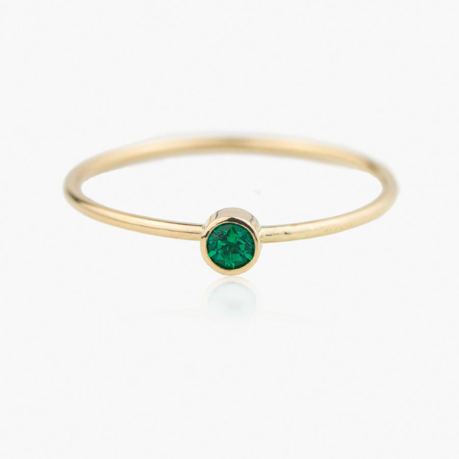 14K Emerald Stacking Ring