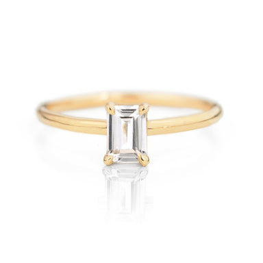 Emerald Cut White Sapphire Ring by Jamie Park Jewelry