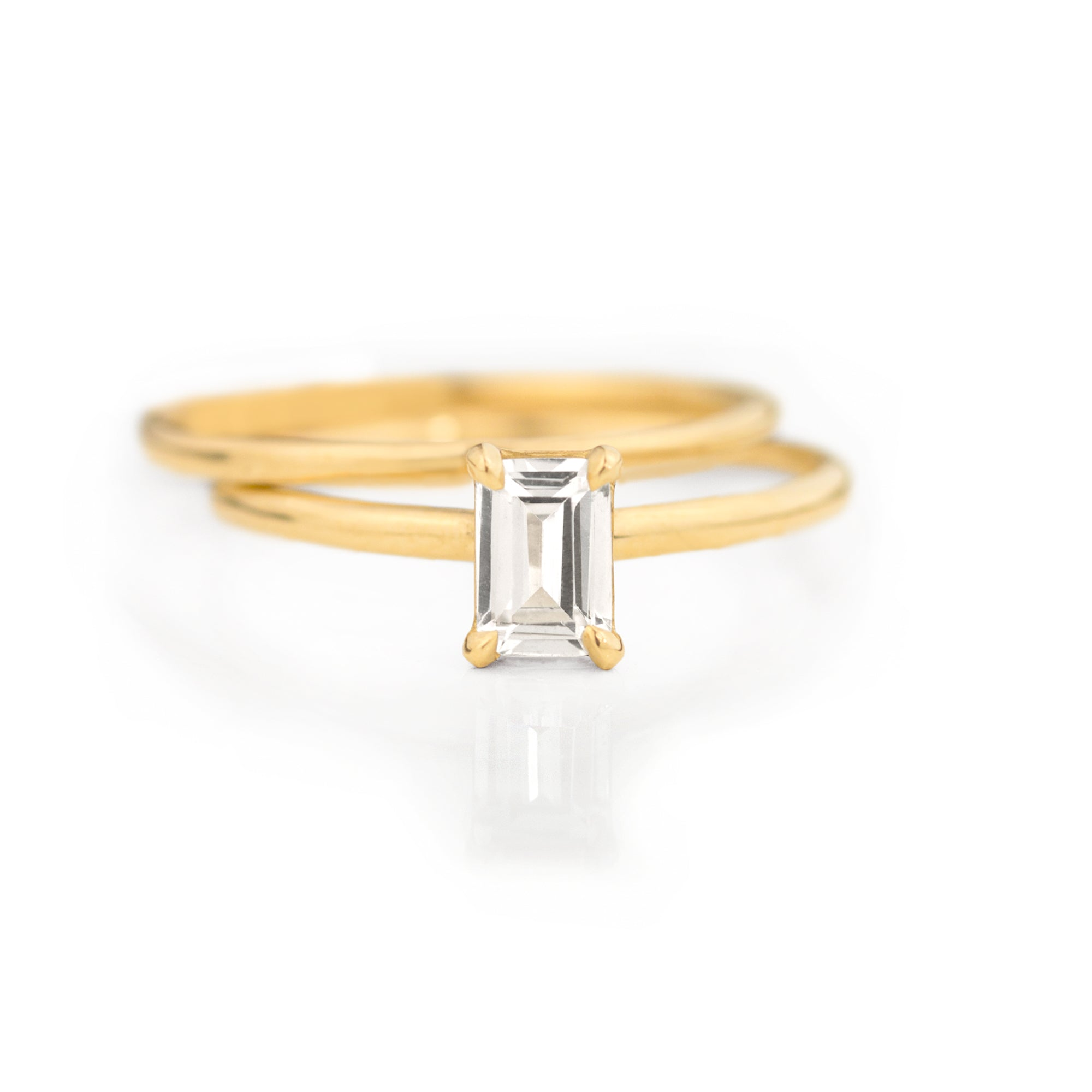 Emerald Cut White Sapphire Ring Set