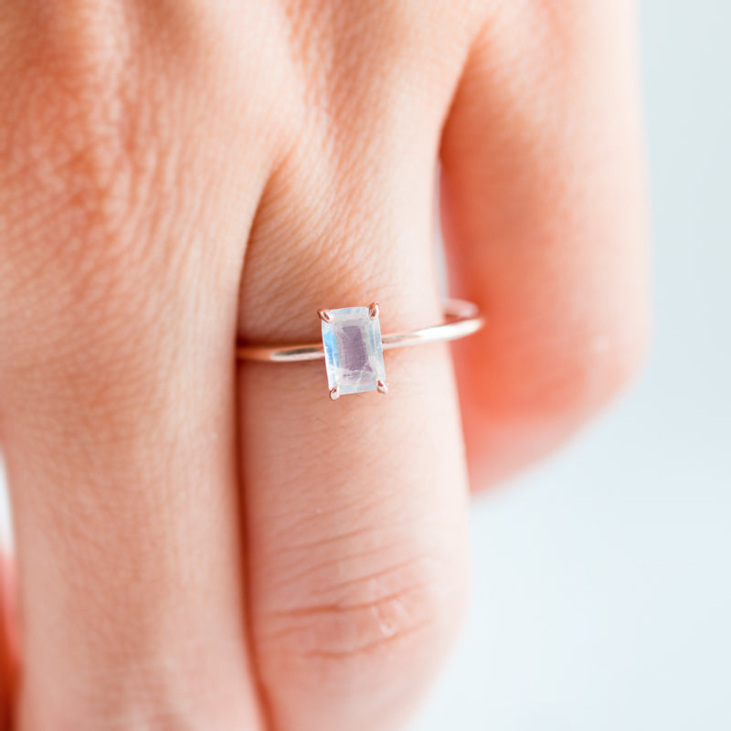 Emerald Cut Moonstone Ring by Jamie Park Jewelry USA