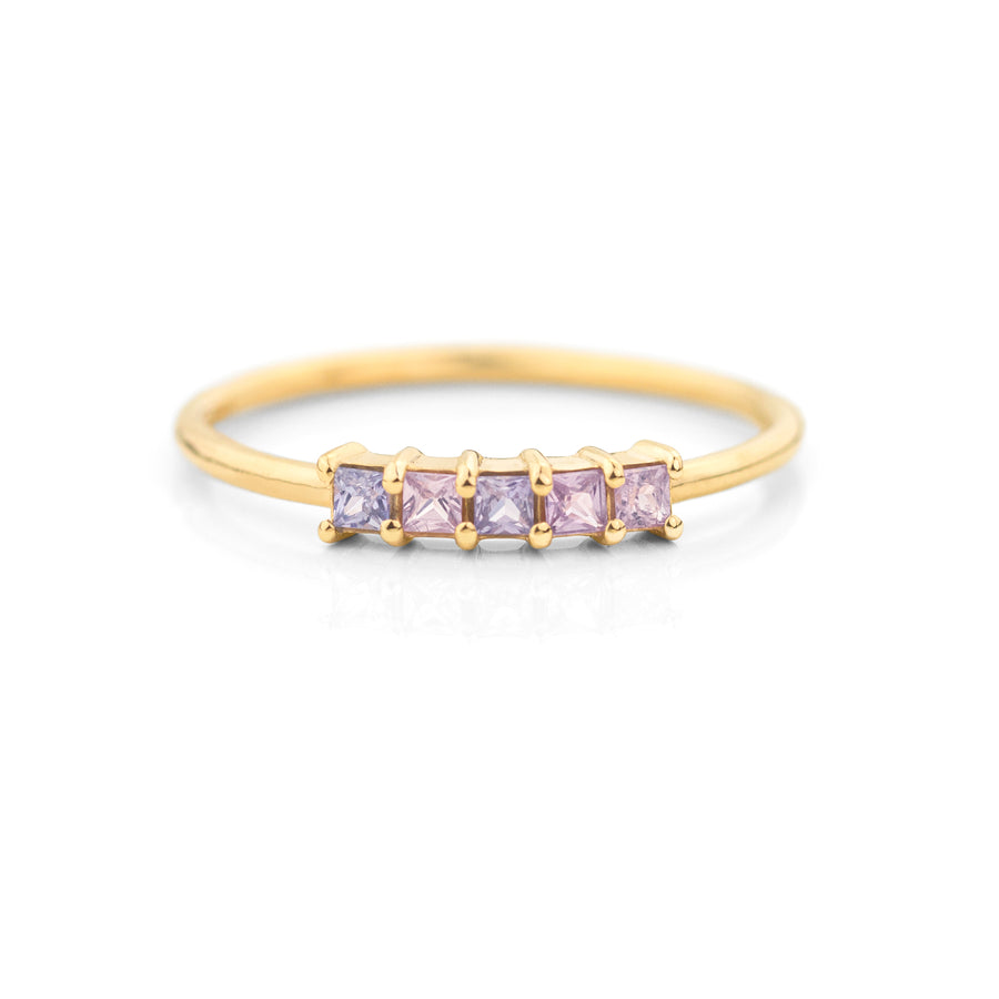 Five Lavender Sapphire Ring by Jamie Park Jewelry