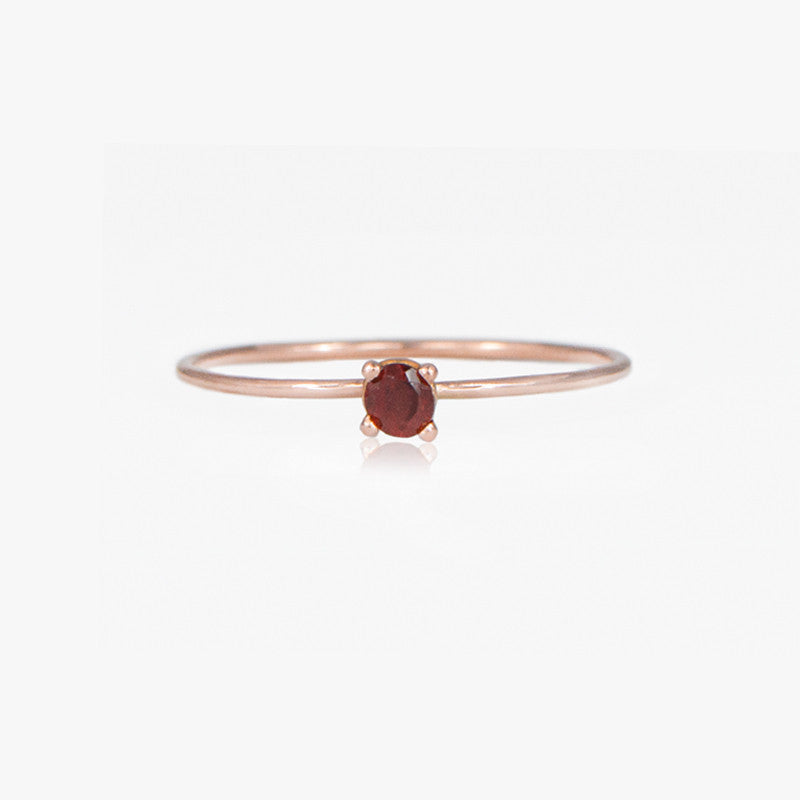 Rose Gold Garnet Ring by Jamie Park Jewelry, January Birthstone