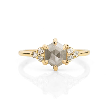 Sienna Hexagon Salt and Pepper Diamond Ring | Jamie Park Jewelry