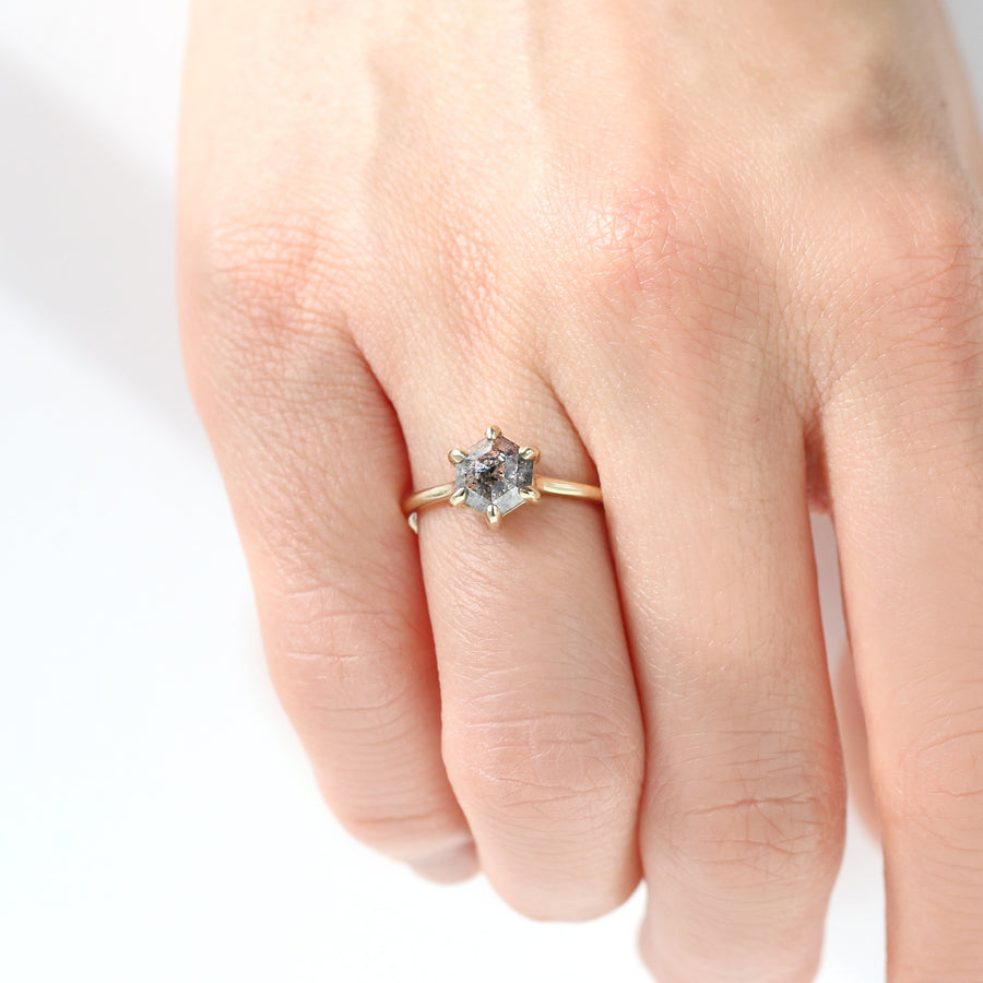 Hexagon Salt and Pepper Diamond Solitaire Ring