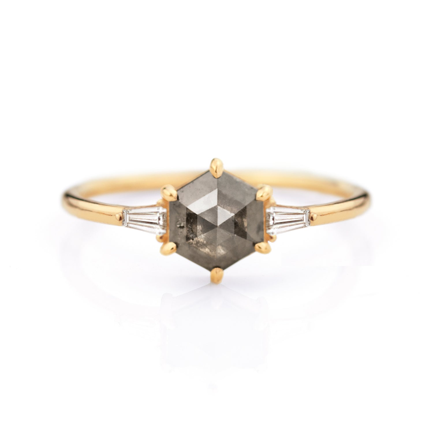Hexagon Rose Cut Diamond Ring