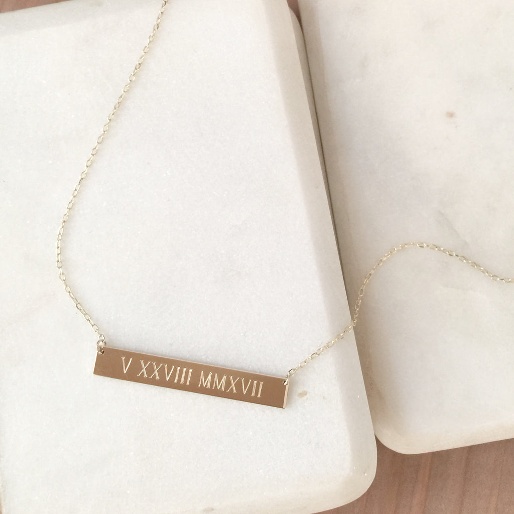14K Gold Name Plate Necklace by jamie park jewelry