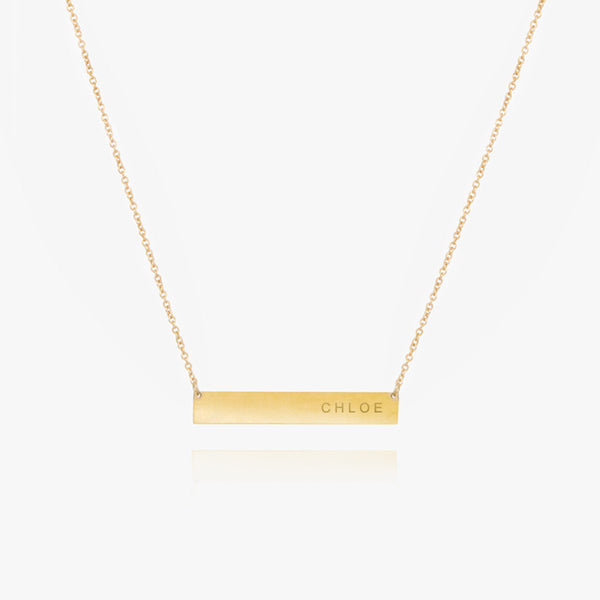 14K Gold Name Plate Necklace