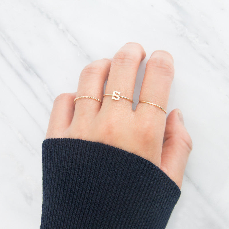 14K Gold Initial Ring by Jamie Park Jewelry. Made in USA